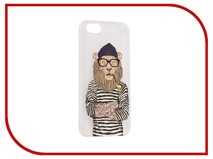 Аксессуар Чехол iPapai Hipsta Animals Лев Silicone для APPLE iPhone 5 / 5S аксессуар чехол ipapai для iphone 6 6s валентинка хипстер