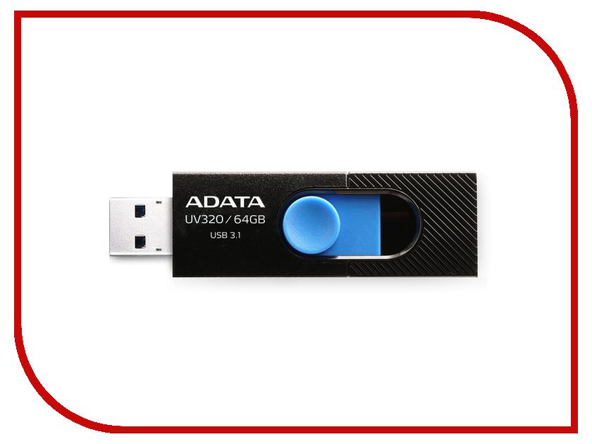 USB Flash Drive 64Gb - A-Data UV320 Black-Blue AUV320-64G-RBKBL free shipping program ch2015 usb high speed programmer pitch 0 5mm 2x3 qfn8 to dip8 socket eeorom spi flash data flash