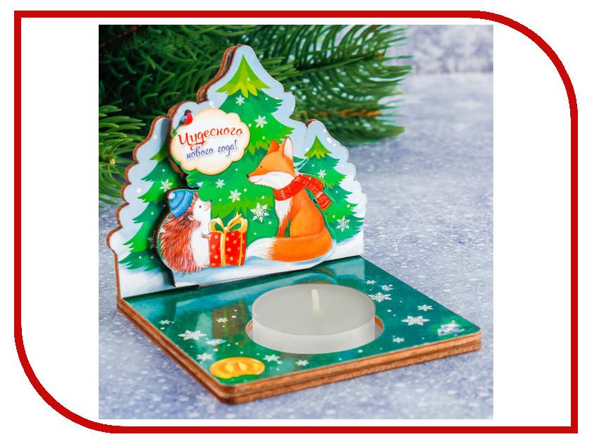 Новогодний сувенир СИМА-ЛЕНД Деревянный подсвечник Чудесного Нового года 2316584 сувенир акм браслет деревянный малый 104 2211 page 1