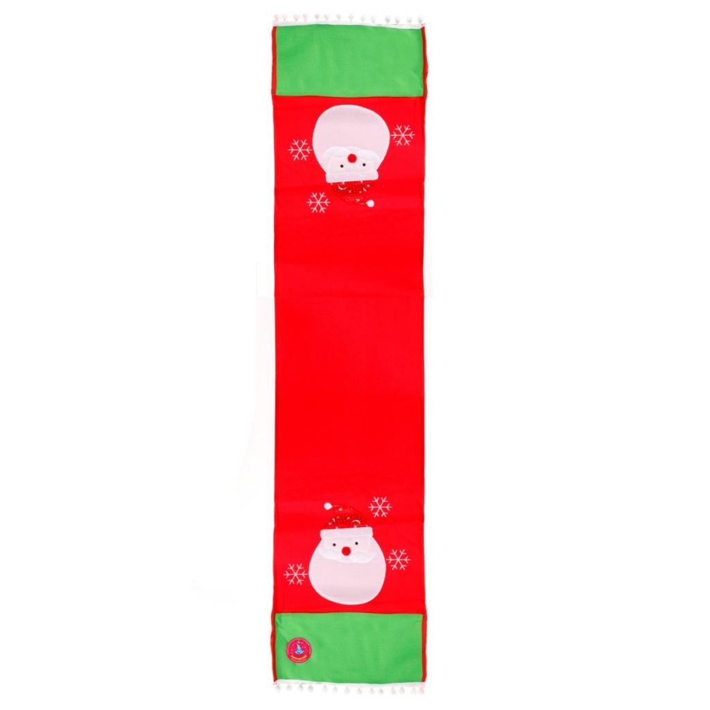 Скатерть-раннер Страна Карнавалия Дед Мороз со снежинками 34x148cm 333479