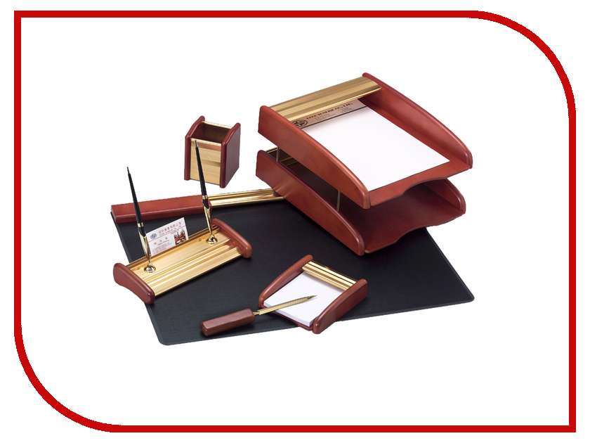 Настольный набор Delucci MBn_06218 Gold-Pink Wood 255641