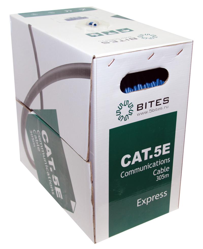 Сетевой кабель 5bites UTP / SOLID / 5E / 24AWG / COPPER / PVC / 305M US5525-305B-BL сетевой кабель 5bites utp solid 6cat 23awg cca pvc 100m us6575 100a