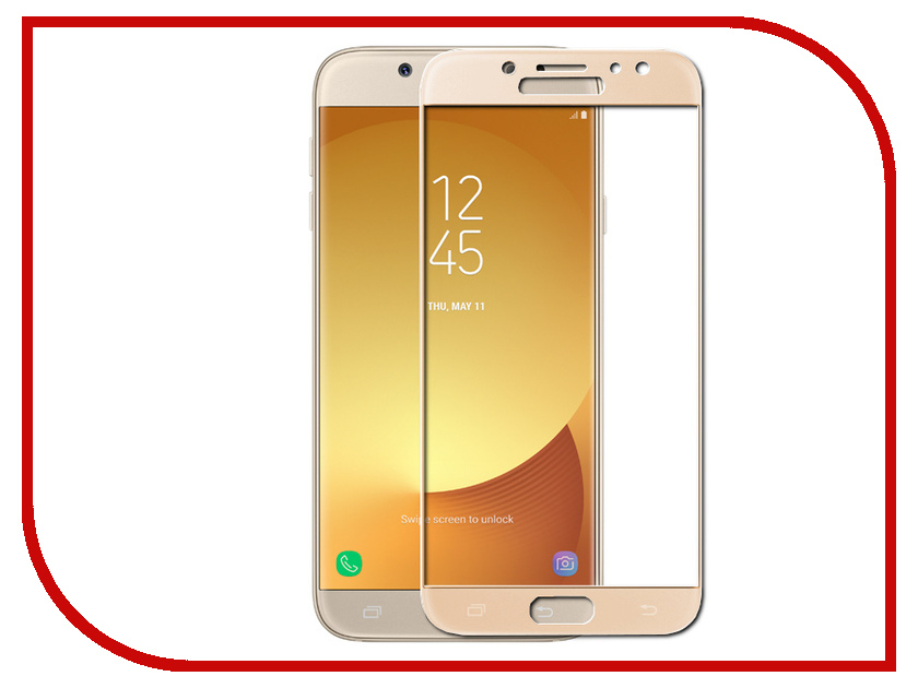 Аксессуар Защитное стекло Samsung Galaxy J7 2017 Red Line Full Screen Tempered Glass Gold аксессуар защитное стекло samsung galaxy a3 2017 solomon full cover black