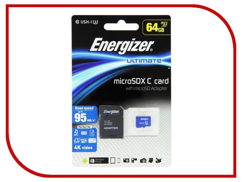 Карта памяти 64Gb - Energizer Micro Secure Digital XC Class 10 UHS-I U3 Ultimate FMDAAU064A с переходником под SD карта памяти 64gb kingston micro secure digital xc class 10 uhs i sdc10g2 64gb с переходником под sd