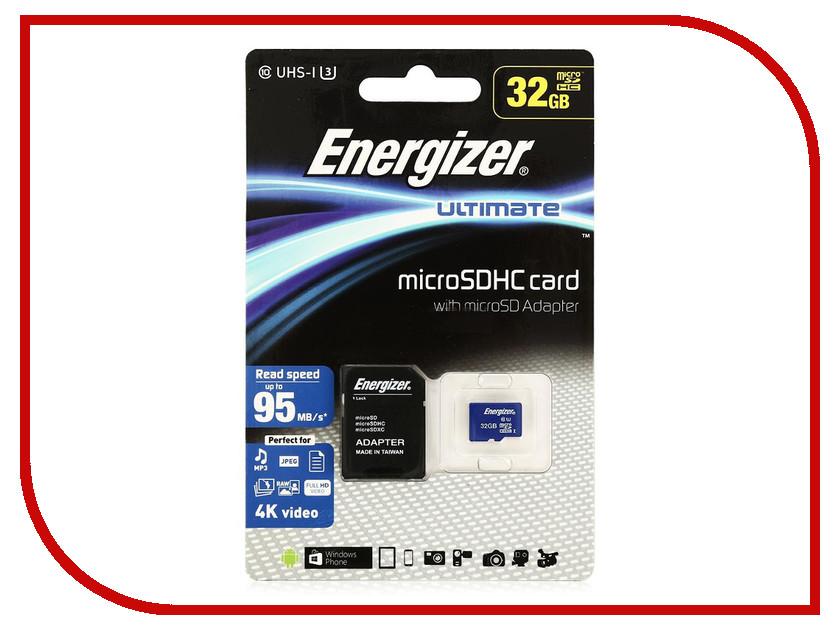 Карта памяти 32Gb - Energizer Micro Secure Digital HC Class 10 UHS-I U3 Ultimate FMDAAU032A с переходником под SD