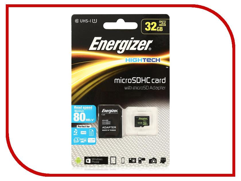 Карта памяти 32Gb - Energizer Micro Secure Digital HC Class 10 UHS-I FMDAAH032A с переходником под SD карта памяти transflash 32гб microsdhc class 10 uhs i energizer fmdaah032a адаптер