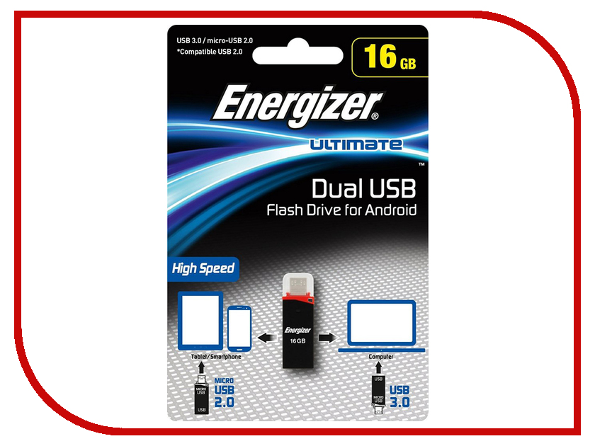 USB Flash Drive 16Gb - Energizer Ultimate Dual USB-A/microUSB FOTANU016R usb flash drive photofast evo plus 16gb