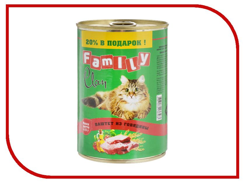 Корм Clan Family Паштет из говядины 415g для кошек
