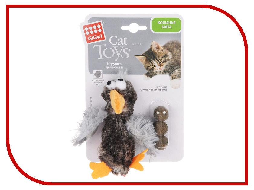 Утка GiGwi 75295 с кошачьей мятой игрушка gigwi мышка с пером и контейнером с кошачьей мятой