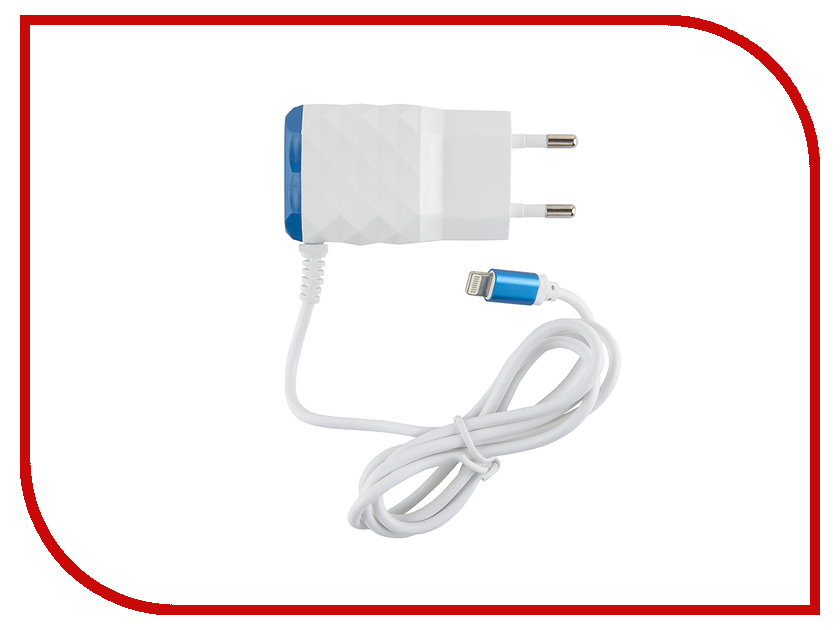 Зарядное устройство Red Line NC-2.1AC 2xUSB + 8pin для кабель APPLE 2.1A Blue зарядное устройство red line j03 black