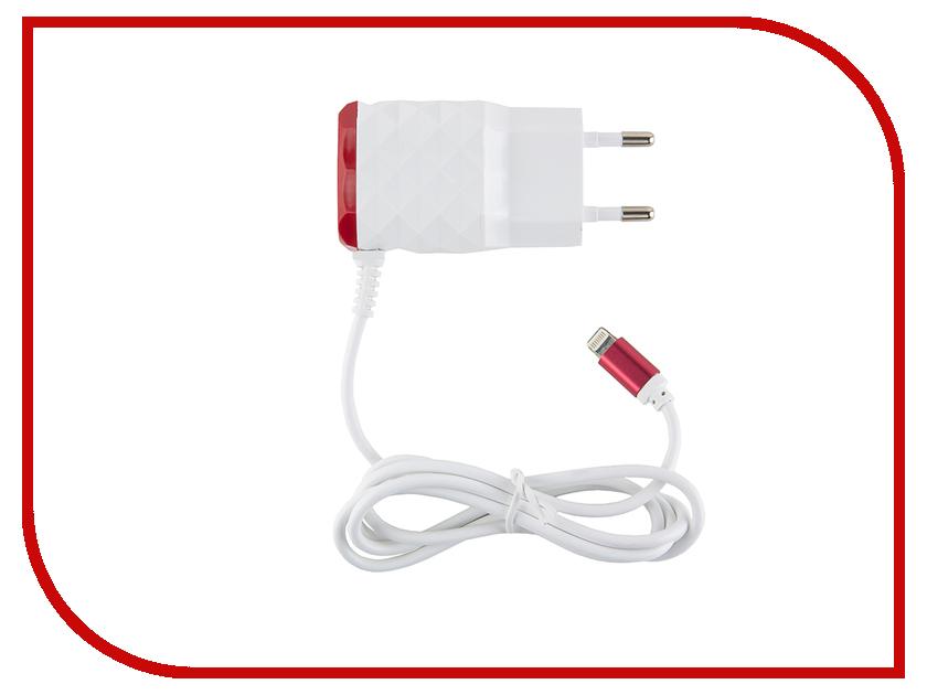 Зарядное устройство Red Line NC-2.1AC 2xUSB + 8pin для кабель APPLE 2.1A Red зарядное устройство red line j03 silver