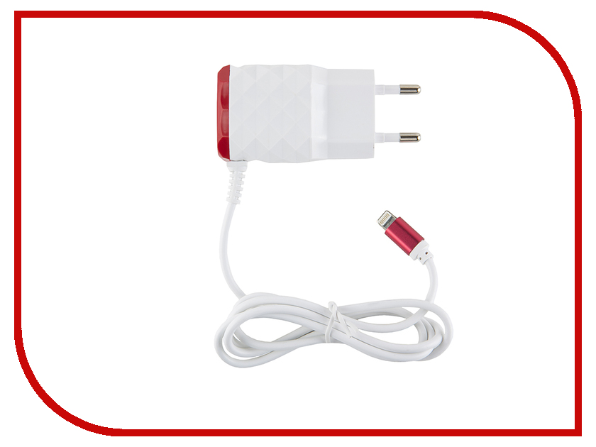 Зарядное устройство Red Line NC-2.1AC 2xUSB + 8pin для кабель APPLE 2.1A Red кабель red line classic micro usb 2м белый