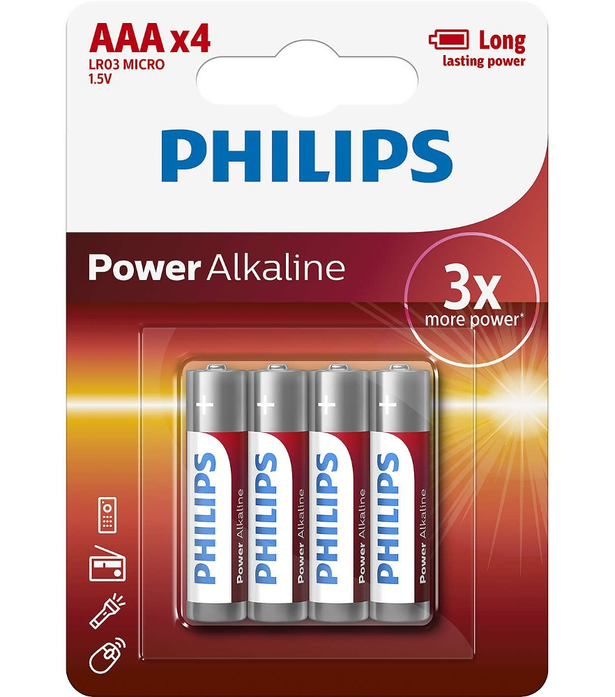 Батарейка AAA Philips LR03P4B/51 (4 штук) батарейка aaa philips lr03e2b 10 ultra 2штуки