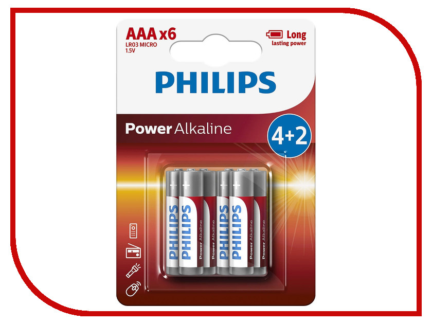 Батарейка AAA Philips LR03P6BP/10 (6 штук) philips hd3197 03
