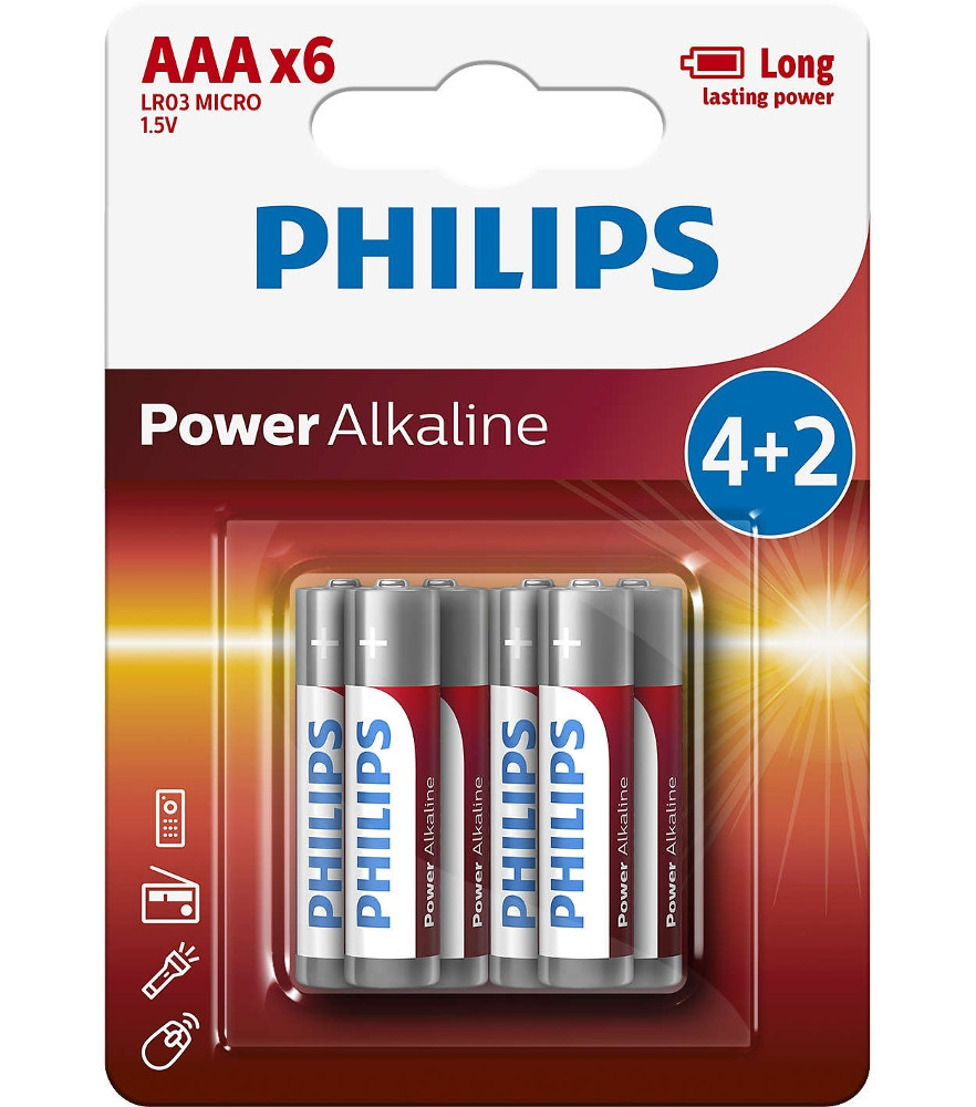 Батарейка AAA Philips LR03P6BP/10 (6 штук)