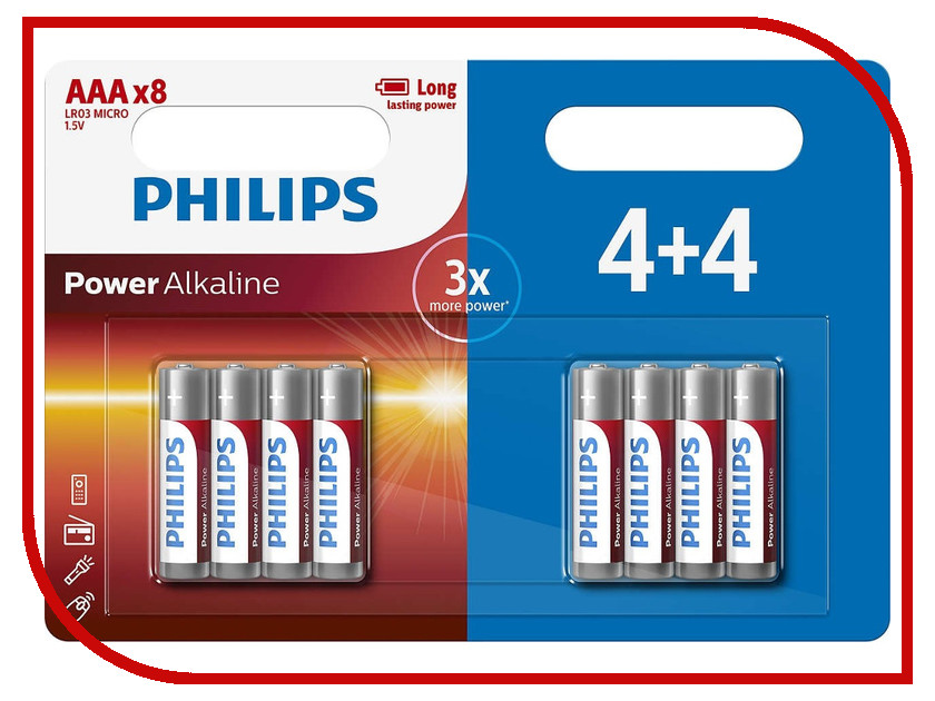 Батарейка AAA Philips LR03P8BP/10 (8 штук) мультиварка philips hd4731 03 white