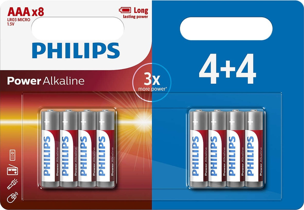 Батарейка AAA Philips LR03P8BP/10 (8 штук)