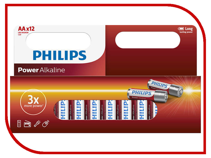 Батарейка AA Philips LR6P12W/10 (12 штук) батарейки philips lr6p20t 10 aa 20шт