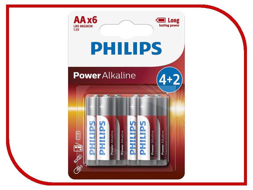 Батарейка AA Philips LR6P6BP/10 (6 штук) батарейки philips lr6p20t 10 aa 20шт