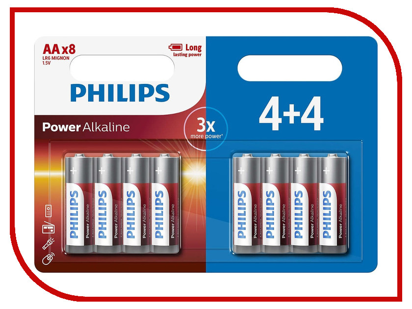 Батарейка AA Philips LR6P8BP/10 (8 штук) батарейки philips lr6p20t 10 aa 20шт