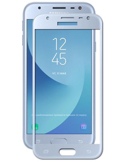 Аксессуар Защитное стекло Mobius 3D Full Cover для Samsung Galaxy J3 2017 Blue