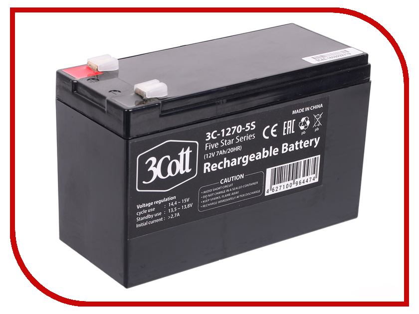 Аккумулятор для ИБП 3Cott 12V 7Ah 5 Star Series 3C-1270-5S