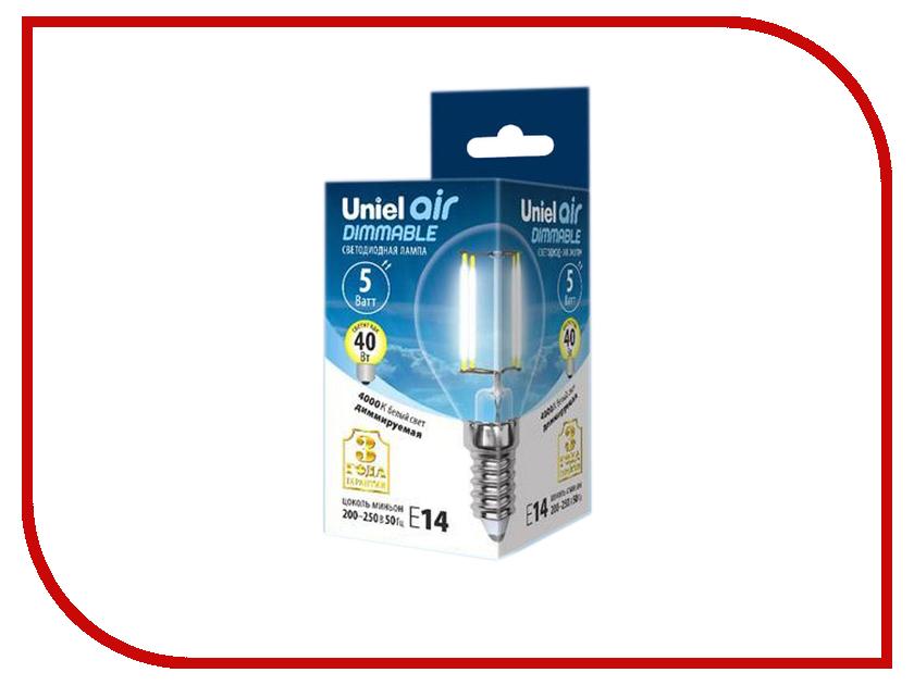 Лампочка Uniel Air шар LED-G45-5W/NW/E14/CL/DIM GLA01TR 4000K White лампочка ecola globe led e14 7w g45 220v 4000k k4lv70elc