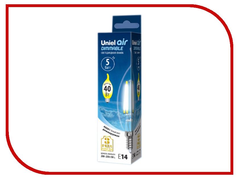 Лампочка Uniel Air свеча на ветру LED-CW35-5W/NW/E14/CL/DIM GLA01TR 4000K White лампочка uniel il f25 cl 15 e14 01854