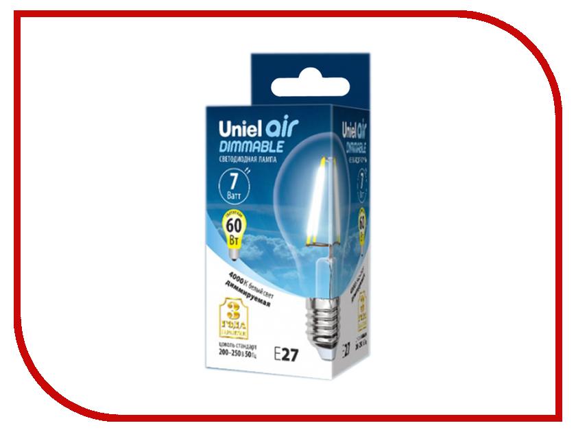 Лампочка Uniel Air A LED-A60-7W/NW/E27/CL/DIM GLA01TR 4000K White лампочка rev led a60 e27 7w 4000k premium filament холодный свет 32354 9