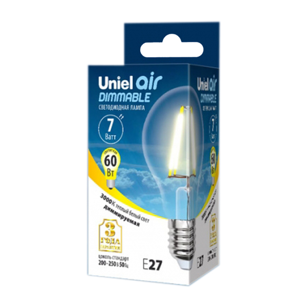 Лампочка Uniel Air LED A60 E27 7W 200-250V 3000K 630Lm Warm White LED-A60-7W/WW/E27/CL/DIM GLA01TR