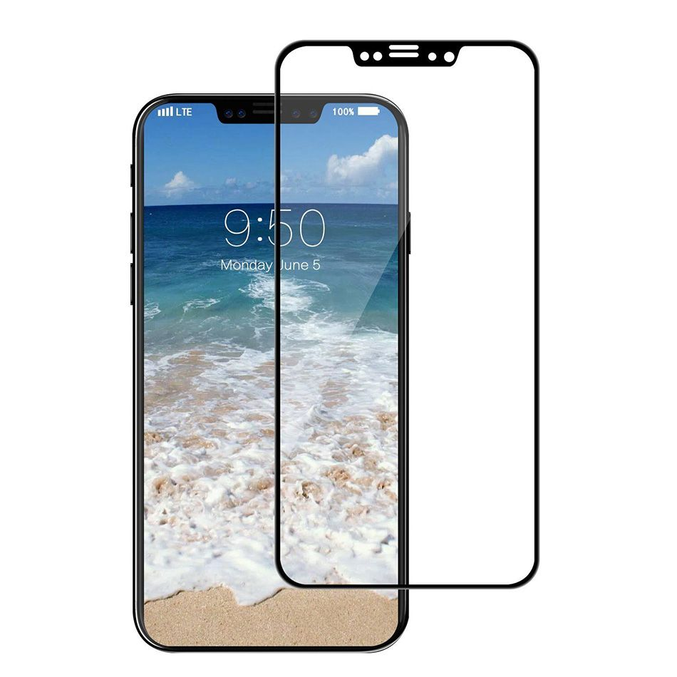 Защитное стекло Brosco для APPLE iPhone X 3D 0.3mm Black IPX-3D-GLASS-BLACK
