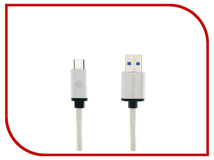 Аксессуар BROSCO USB - Type-C Silver CABLE-TYPE-C-3.0-SILVER usb3 0 round type panel mounting usb connecter silver surface