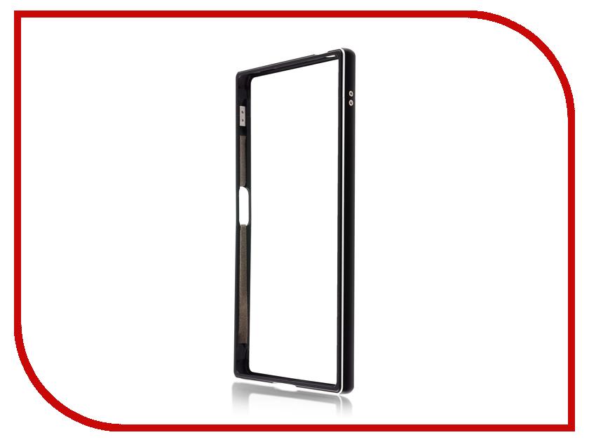 Аксессуар Чехол Sony Xperia XZ1 BROSCO Metal Black XZ1-BMP-BLACK mooncase side flip hard board slim leather bracket window чехол для cover microsoft lumia 625 желтый