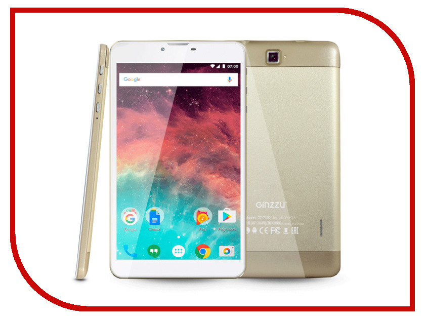 Планшет Ginzzu GT-7100 Gold (Spreadtrum SC7731G 1.3 GHz/1024Mb/8Gb/GPS/3G/Wi-Fi/Bluetooth/Cam/7.0/1024x600/Android) планшет dexp ursus 7mv4 3g black 0807193 spreadtrum 5735 1 2 ghz 1024mb 8gb wi fi 3g bluetooth gps cam 7 0 1024x600 android