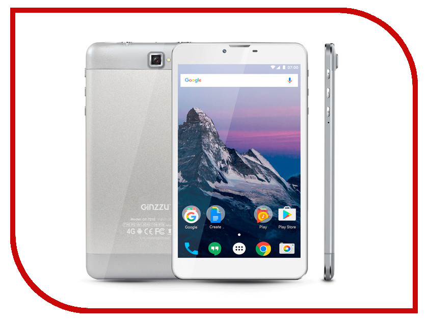 Планшет Ginzzu GT-7210 Silver (Spreadtrum SC9832 1.3 GHz/1024Mb/8Gb/GPS/LTE/Wi-Fi/Bluetooth/Cam/7.0/1280x800/Android)
