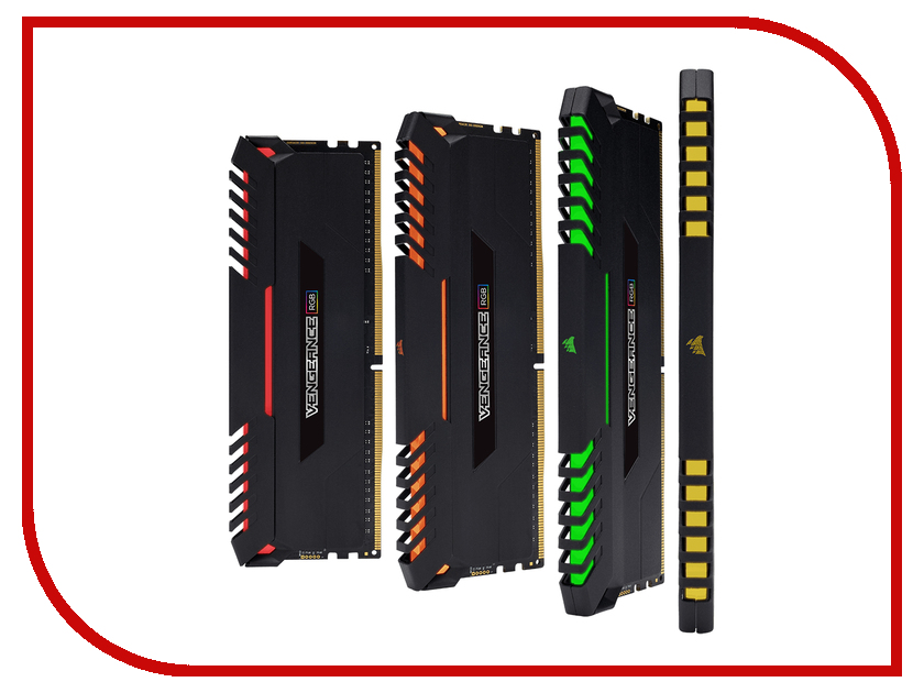 Модуль памяти Corsair Vengeance RGB DDR4 DIMM 3200MHz PC4-25600 - 64Gb KIT (4x16Gb) CMR64GX4M4C3200C16 corsair