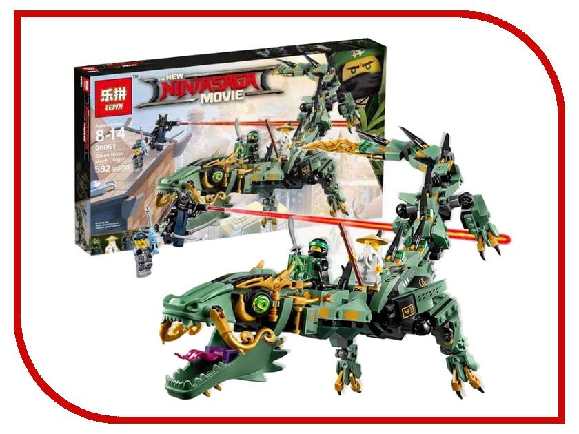Конструктор Lepin Ninja Saga Movie Механический дракон Зелёного ниндзя 568 дет. 06051 конструктор bela ninja ниндзя сверхзвуковой рейдер 645 дет 31041