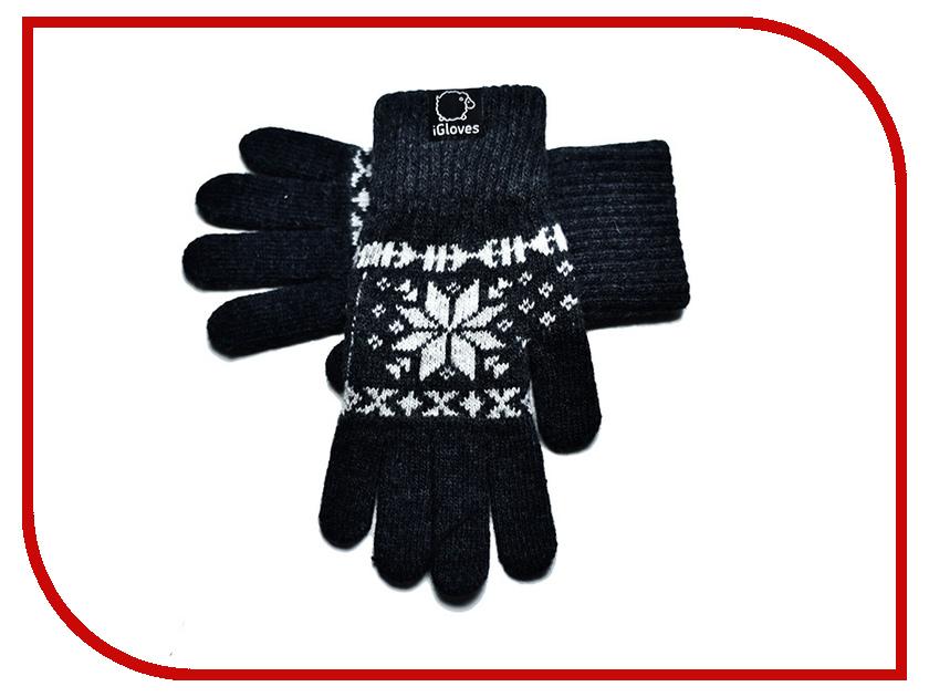 Теплые перчатки для сенсорных дисплеев iGloves G24 р.M Snowflake Dark Grey