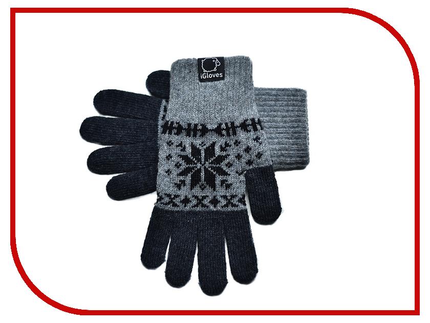 Теплые перчатки для сенсорных дисплеев iGloves G26 р.M Snowflake Light Grey