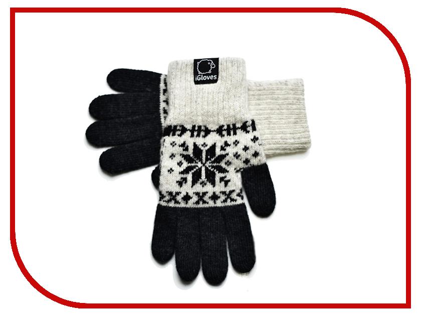 Теплые перчатки для сенсорных дисплеев iGloves G27 р.M Snowflake Beige