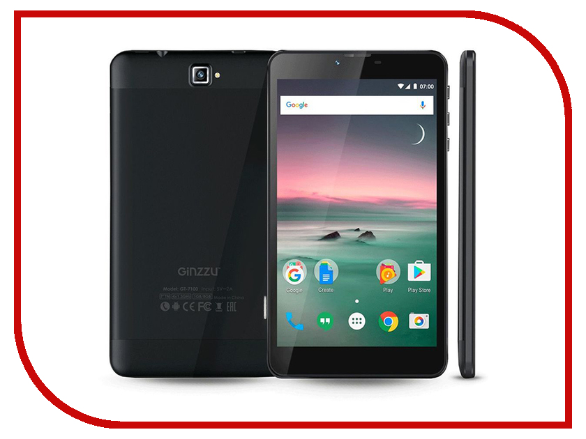 Планшет Ginzzu GT-7100 Black (Spreadtrum SC7731G 1.3 GHz/1024Mb/8Gb/GPS/3G/Wi-Fi/Bluetooth/Cam/7.0/1024x600/Android) планшет dexp ursus 7mv4 3g black 0807193 spreadtrum 5735 1 2 ghz 1024mb 8gb wi fi 3g bluetooth gps cam 7 0 1024x600 android