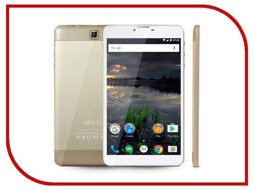 Планшет Ginzzu GT-7210 Gold (Spreadtrum SC9832 1.3 GHz/1024Mb/8Gb/GPS/LTE/Wi-Fi/Bluetooth/Cam/7.0/1280x800/Android) планшет планшет lenovo tab 4 tb 7504x za380087ru mediatek mt8735b 1 3 ghz 2048mb 16gb gps 3g lte wi fi bluetooth cam 7 0 1280x720 android