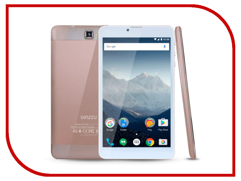 Планшет Ginzzu GT-7210 Rose Gold (Spreadtrum SC9832 1.3 GHz/1024Mb/8Gb/GPS/LTE/Wi-Fi/Bluetooth/Cam/7.0/1280x800/Android) планшет планшет lenovo tab 4 tb 7504x za380087ru mediatek mt8735b 1 3 ghz 2048mb 16gb gps 3g lte wi fi bluetooth cam 7 0 1280x720 android