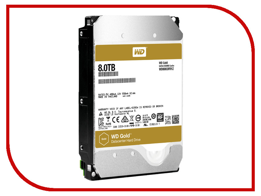 Жесткий диск 8Tb - Western Digital Gold WD8003FRYZ жесткий диск 4tb western digital gold wd4002fyyz