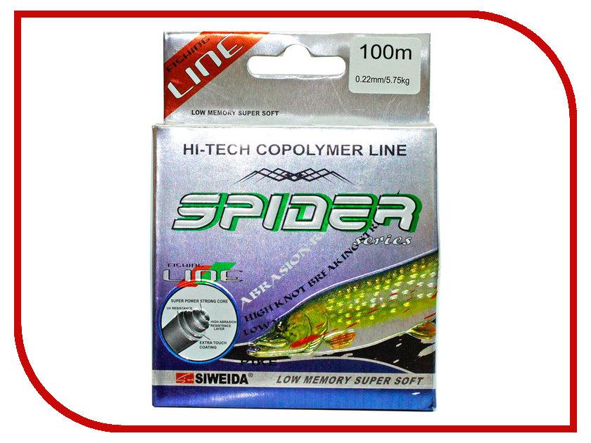 Леска Siweida SWD Spider Pike 100m 0.22mm 5.75kg Green 5252222 цена и фото