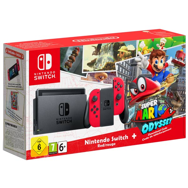 Игровая приставка Nintendo Switch Red + Super Mario Odyssey Bundle