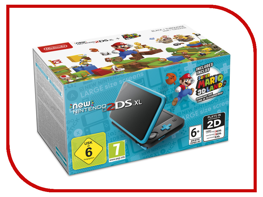 Игровая приставка Nintendo 2DS XL + Super Mario 3D Land Black Turquoise inov 8 куртка race elite 300 softshell pro w xl turquoise black barberry
