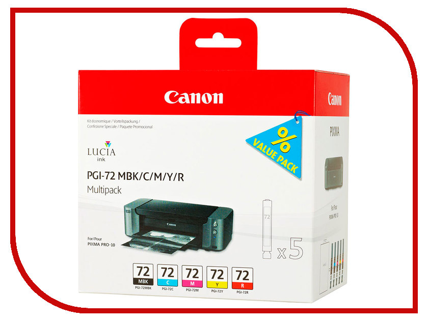 Картридж Canon PGI-72 MBK/C/M/Y/R Multipack 6402B009 картридж для струйного принтера canon pgi 72 pc