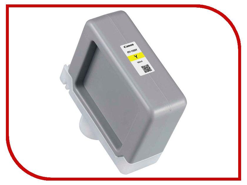 Картридж Canon PFI-1100Y Yellow 160ml 0853C001 картридж canon pfi 307m magenta 330ml для ipf 830 840 850 9813b001