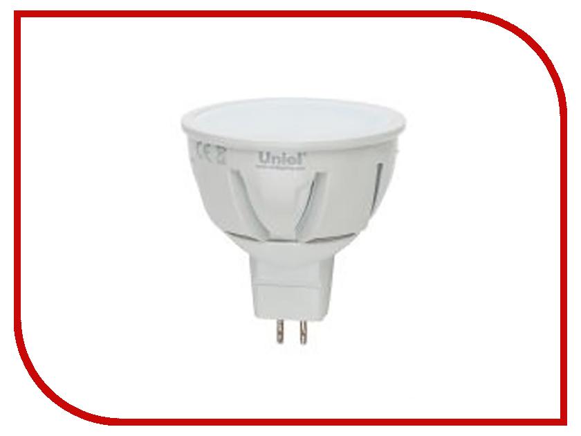 Лампочка Uniel LED-JCDR-7W/WW/GU5.3/FR PLP01WH лампа светодиодная 07912 gu5 3 5w 3000k jcdr матовая led jcdr 5w ww gu5 3 fr alp01wh